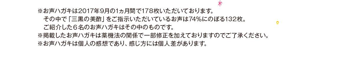 ※お声ハガキは2017年9月の1ヶ月間で178枚いただいております。※個人の感想であり、感じ方には個人差があります。